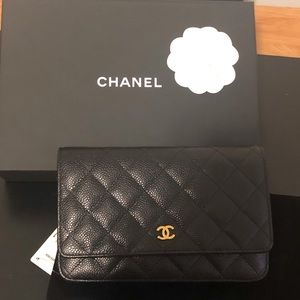 Authentic Chanel Wallet on a Chain, Black & Gold